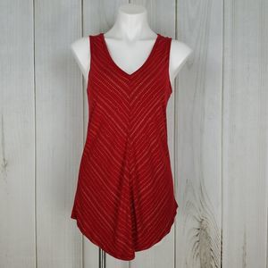 Maurices 24/7 Red White Print Tank Top